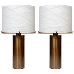 Glustin Luminaires Creation Brass and Alabaster Shades Table Lamp