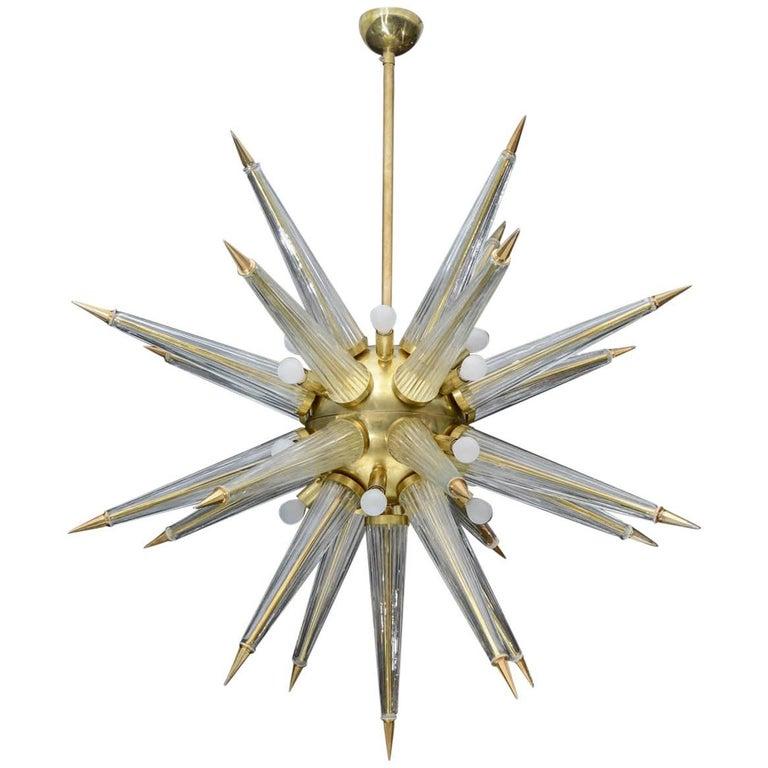 Brass Sputnik Chandelier with Murano Glass Spikes
