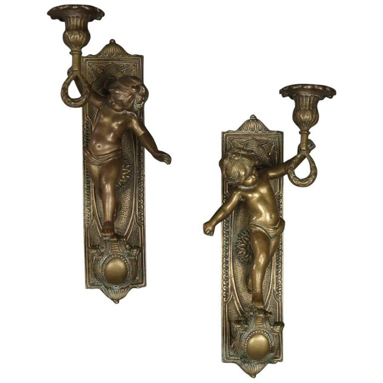 Pair of Large French Antique Figural Bronze Cherub Wall Sconces, 19th Century For Sale at 1stdibs