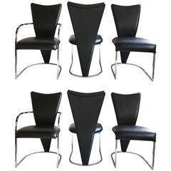 Milo Baughman Style Design Institute America DIA Modern Chrome Dining Chairs