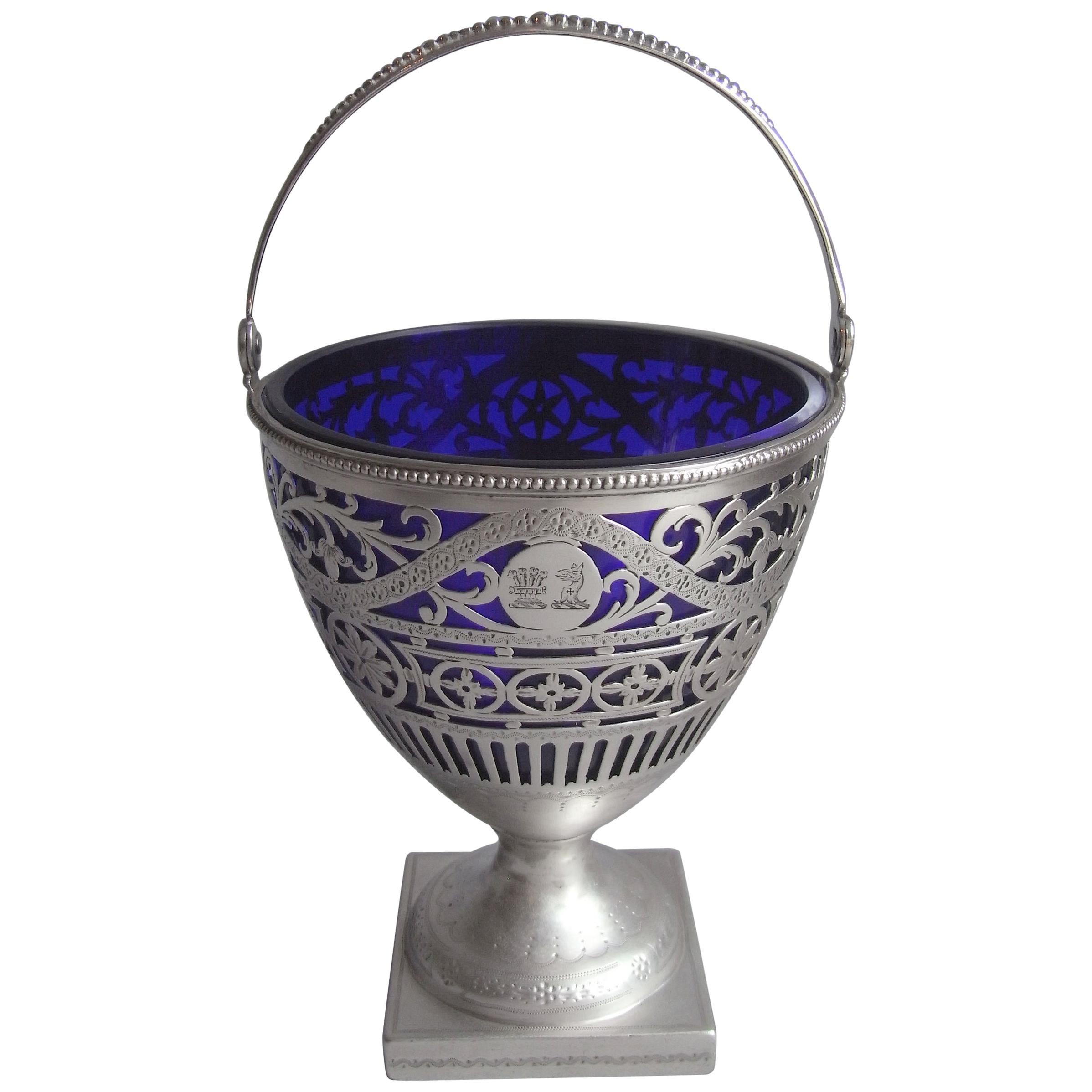 Very Fine George III Sugar Basket by Charles Chesterman in London in 1781.