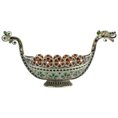 Norwegian Gilt Sterling Silver and Plique-à-Jour Viking Boat by Marius Hammer