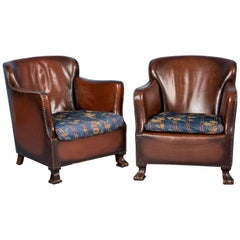 Pair of Vintage Upholstered Danish Leather Club Chairs