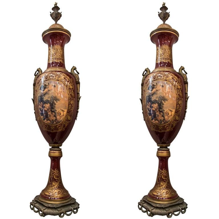 Pair Of Louis XV Style Porcelain Vases , Vieux Paris