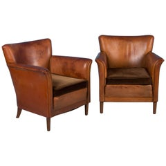 Pair of Vintage Danish Leather Club Chairs with Cushion Seats