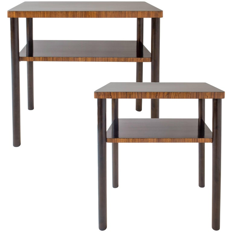 Complementary Pair of Swedish Early Modernist Zebrawood and Birch Side Tables