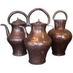 Three French Copper Pitchers