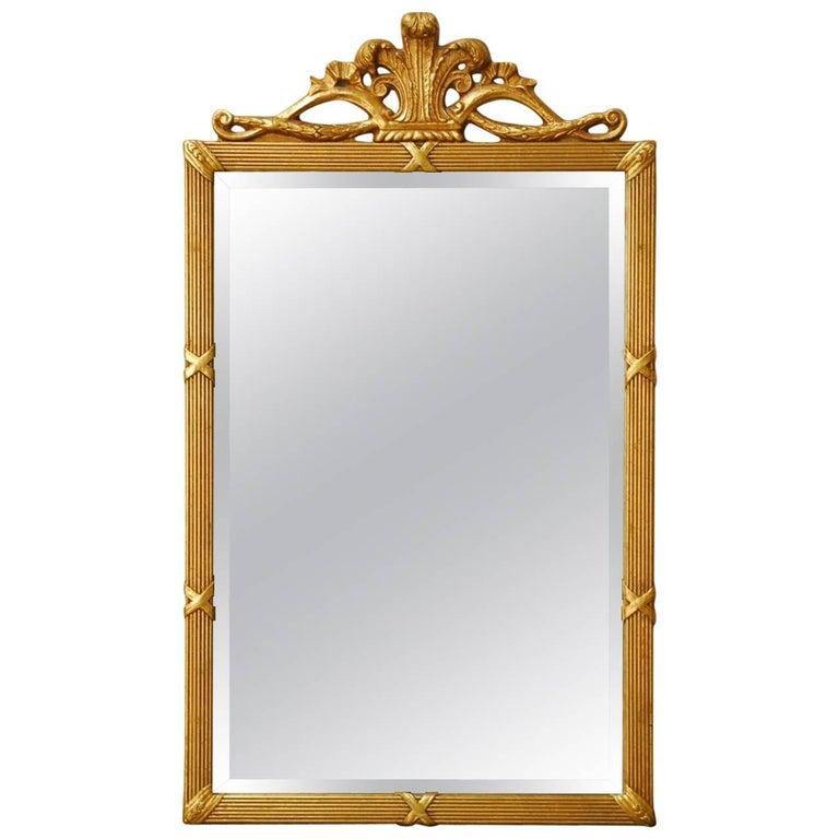 Louis XVI Style Giltwood Bevelled Mirror For Sale