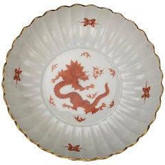 Meissen Porcelain Ming Dragon Red Serving Bowl