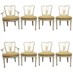 Hollywood Regency Eight Sweet Heart Dining Chairs