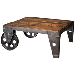 Industrial Modern Wood Steel and Iron Coffee Table