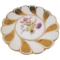 Antique Meissen Porcelain Plate with Floral Bouquet Scalloped Teardrop & Lattice