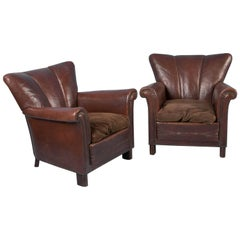 Pair of Vintage Danish Brown Leather Club Chairs
