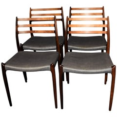 N. O. Møller Rosewood Dining Chairs Model 78