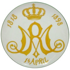1898 Meissen Teller Porcelain Royal Jubilee Plate Marie of Saxe-Altenburg German