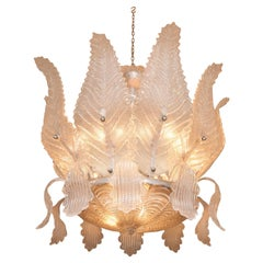 Impressive Italian Murano Glass Chandelier with Large Pluming Leaves