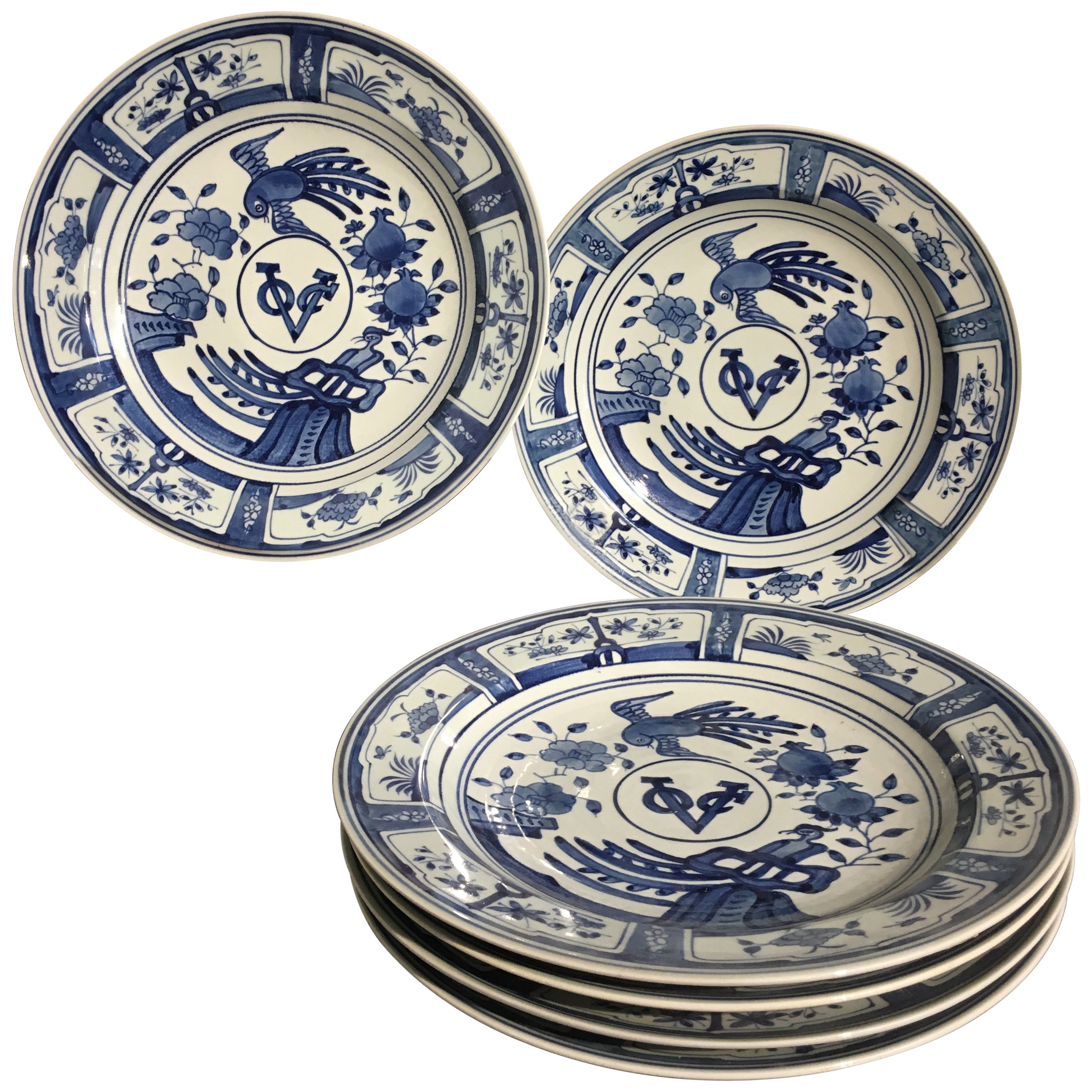Six VOC Chinese Export Style Blue and White Porcelain Chargers, 20th Century