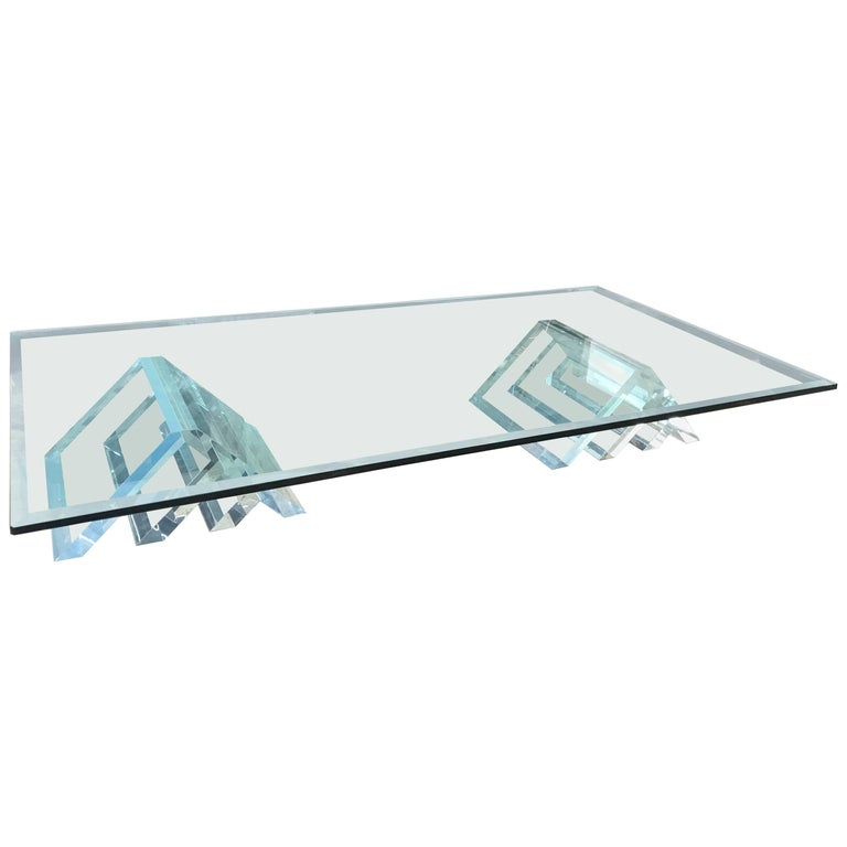 Beautiful Lucite Italian Coffee Table Base with Thick Glass Top