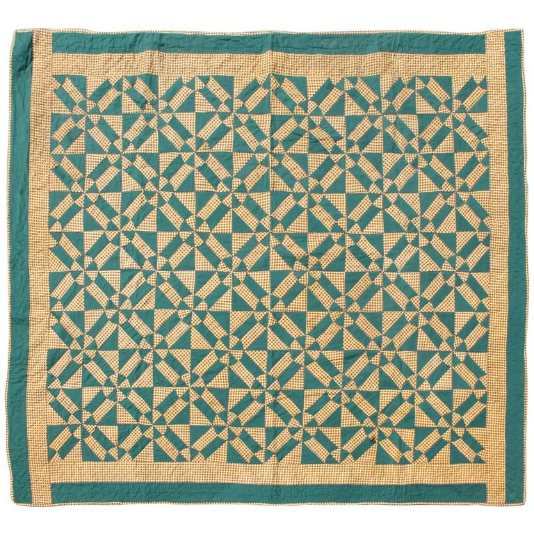 19th Century, Geometric Pinwheels Green and Tan Quilt