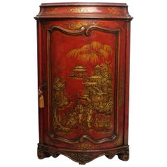 Red Lacquered Corner Cabinet with Chinoiserie Decoration, French Circa 1860