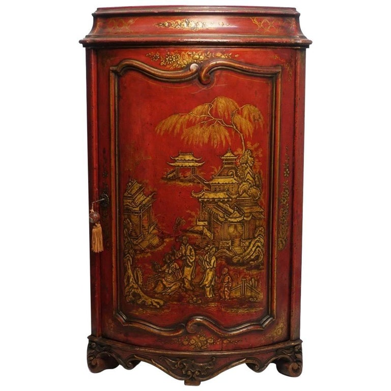 French Red Lacquered Encoignure with Chinoiserie Decoration
