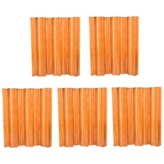 Vintage Set of Five Wave Pattern Folding Screens by Charles Eames