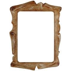 Fabulous Mirror in the Taste of Serge Roche, Scraped Oak, France, 1940s