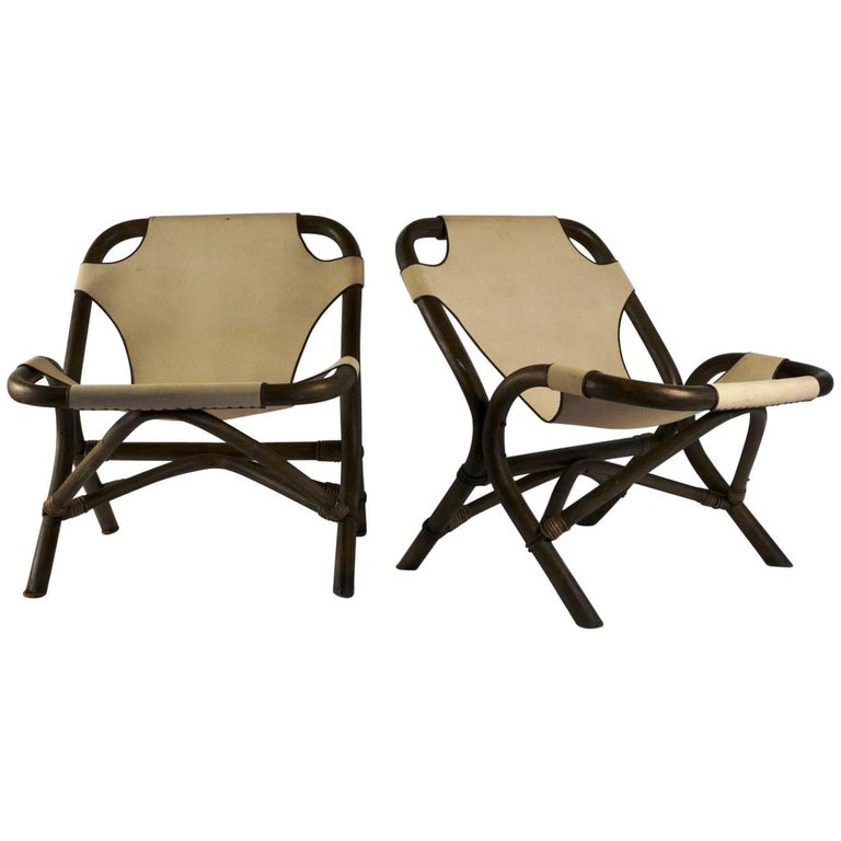 Spectacular Pair of Armchairs by Rohé Noordwolde, Rattan and Beige Linen, 1950s