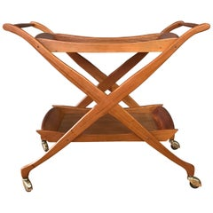 Mid-Century Walnut Two-Tiered Serving Cart