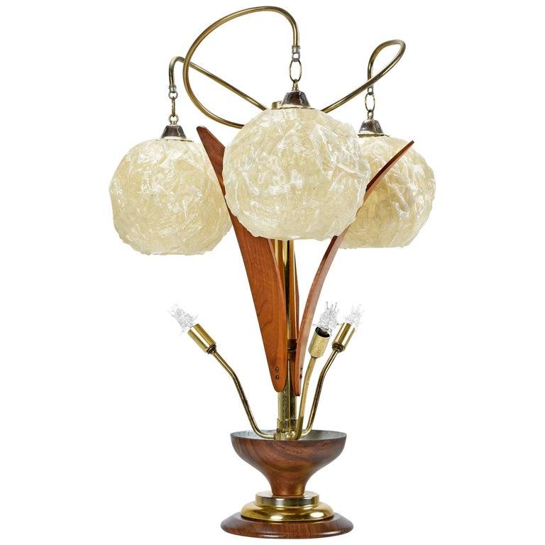 Mid-Century Spun Acrylic Ribbon Teak Petal Sputnik Spaghetti Globe Planter Lamp