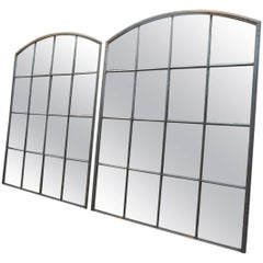 Pair of Riveted Iron Factory 1920s Windows Industrial Mirrors