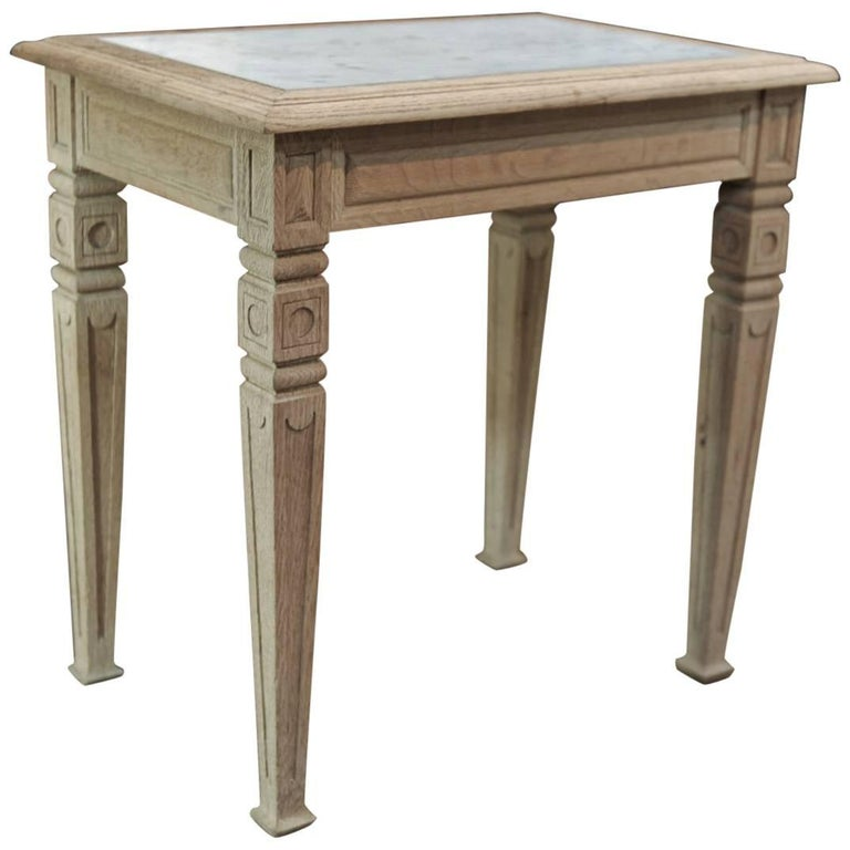 Solid Oak and Marble Little French Butcher Table, circa 1920
