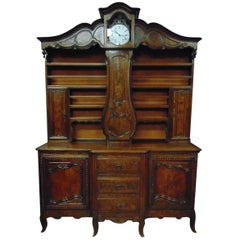 Rare French farmhouse buffet with Clock in the Louis XV Style, circa 1770
