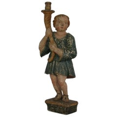 17th Century, Early Baroque Carved Wooden Angel with a Candleholder