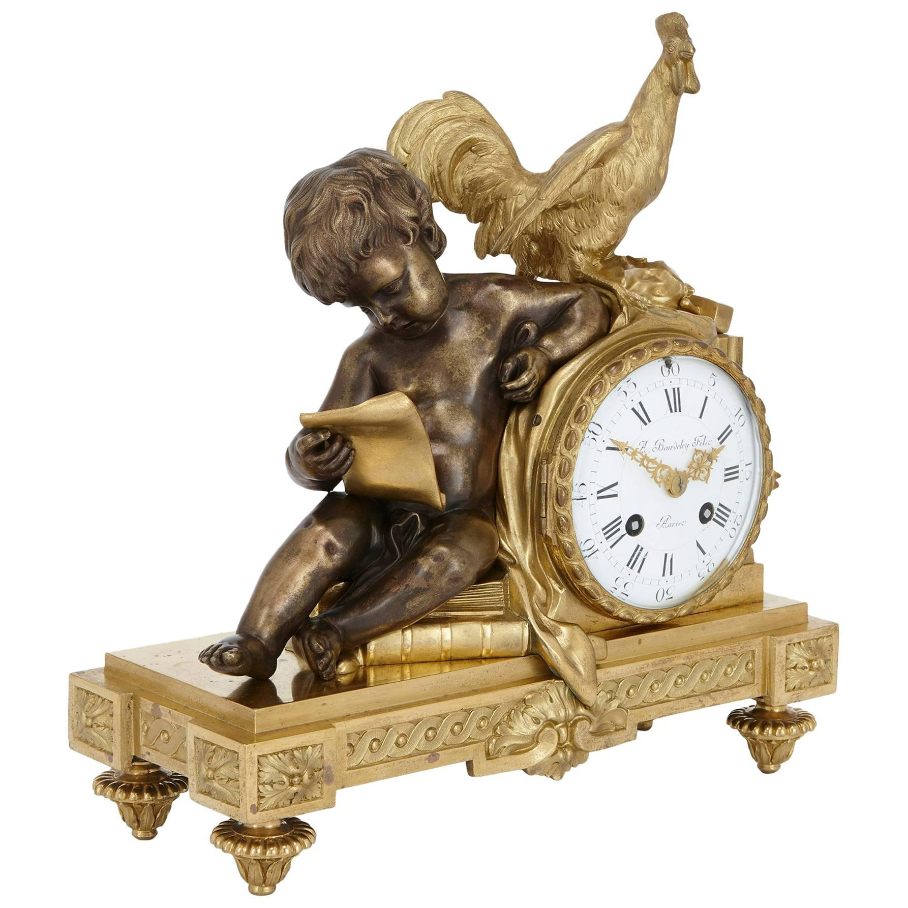 French Silvered Bronze and Ormolu Neoclassical Style Mantel Clock by Beurdeley