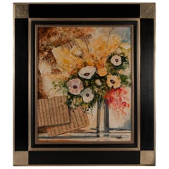 Sign by Jean-Pierre Frey, Acrylic on Canvas, Bouquet of Musical Anemones Flower