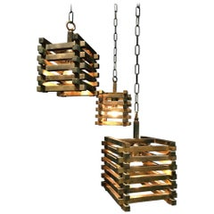 Brass Cube Pendants from the 1970s attributed to Romeo Rega