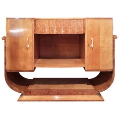 Art Deco Console Sideboard by Epstein in Maple and Burr Maple Veneers