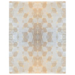 Honeycomb Hand-Knotted Viscose and Wool Geometric Rug with Border