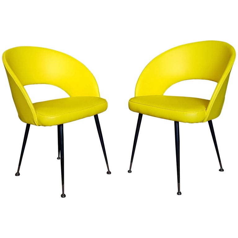 1950s Pair of Yellow Armchairs For Sale