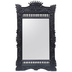 Carved Blacken Oak Mirror, Breton Style, circa 1900
