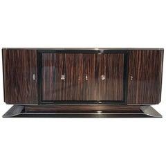 Art Deco Macassar Sideboard with Black Interior