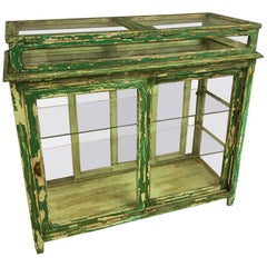 Oak Vitrine Counter Old Green Paint