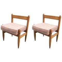 Guillerme et Chambron Pair of Oak Chairs, Votre Maison Edition, France, 1960
