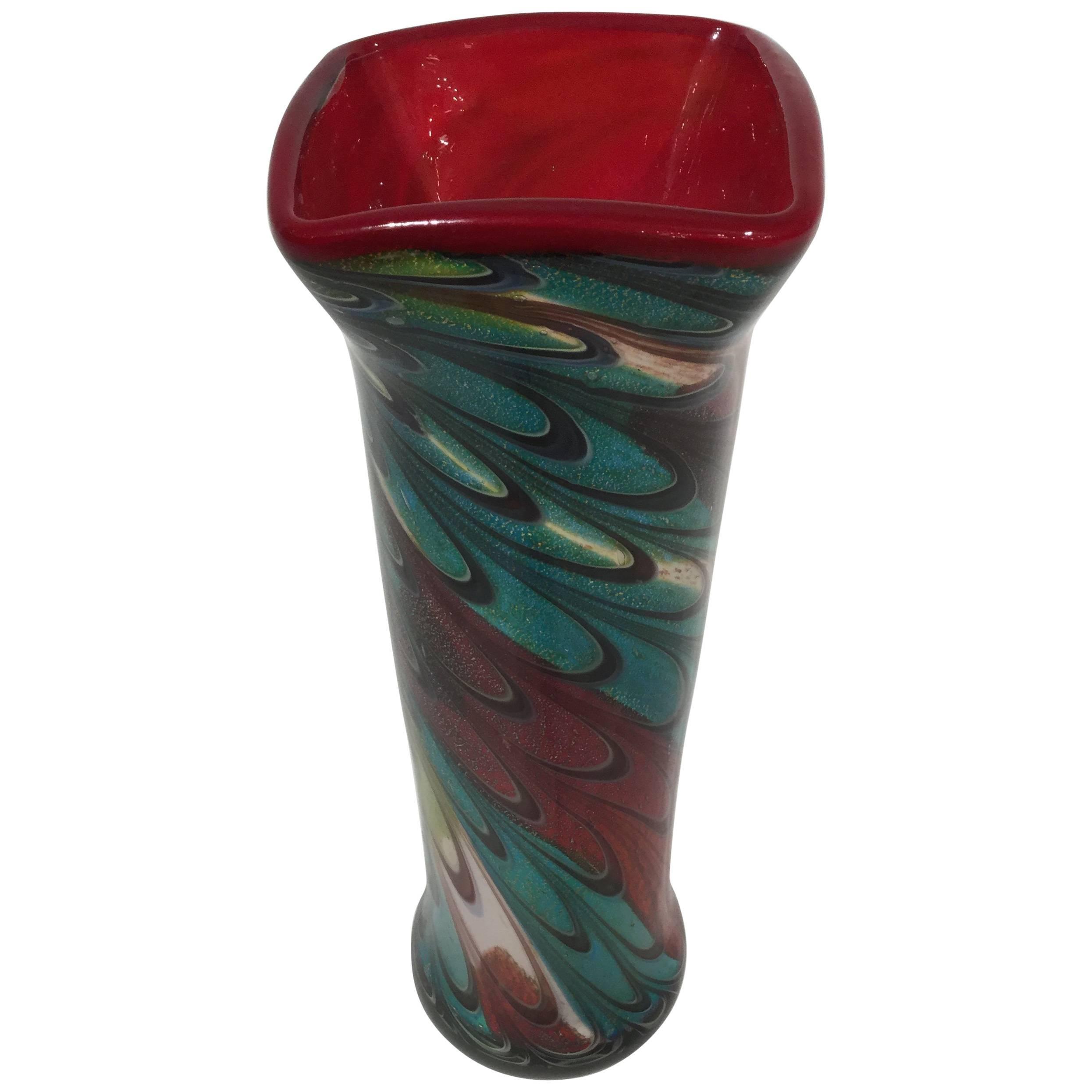 Murano Glass Tall Vase, 1980