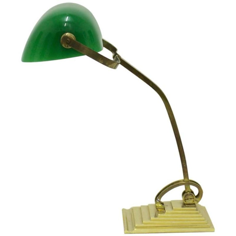 Brass Horax Table Lamp with Green Glass Shade, circa 1910