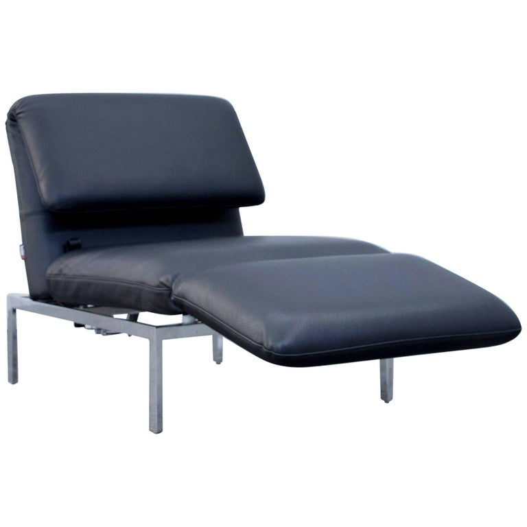 Br hl and sippold roro designer chaise longue recamiere for Black leather chaise longue