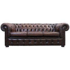 Chesterfield Sofa Brown Leather Three-Seat Couch Retro Vintage