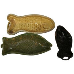 Collection of 19th Century, French Earthenware Fish Baking Molds