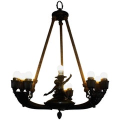 Antique German Empire Style Ten-Light Figural Bronze Chandelier, circa 1900s